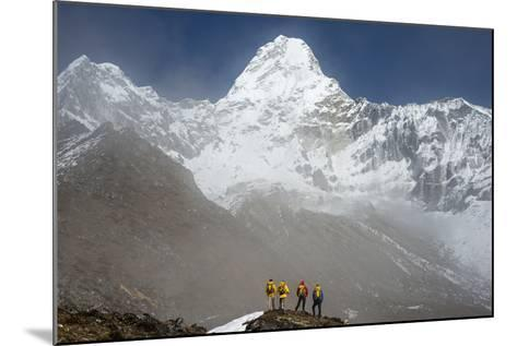 A Climbing Team Stand Looking Up at Ama Dablam in the Everest Region of Nepal-Alex Treadway-Mounted Photographic Print