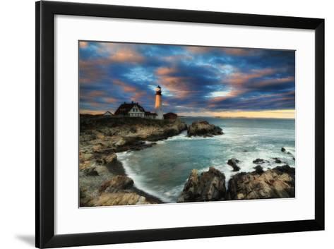 A Dramatic Sky at Sunset over the Portland Head Light-Robbie George-Framed Art Print