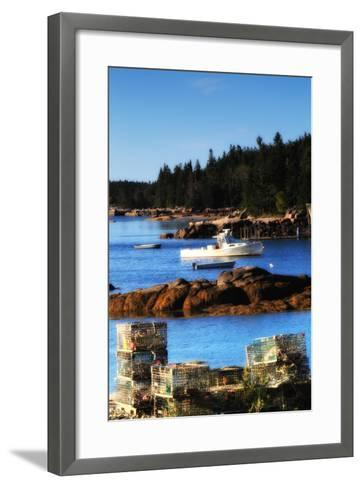 Lobster Traps Stacked on Shore, with Lobster and Row Boats Anchored Offshore-Robbie George-Framed Art Print