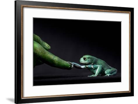 A Waxy Monkey Frog, Phyllomedusa Sauvagii, Reaches Out to Grab a Finger Painted Green-Robin Moore-Framed Art Print
