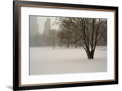 The Sheep Meadow in Central Park During a Blizzard-Kike Calvo-Framed Art Print