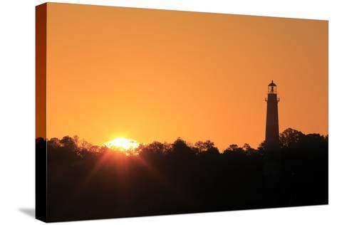 The Sun Rising Next to the Assateague Lighthouse-Robbie George-Stretched Canvas Print