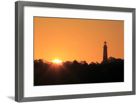The Sun Rising Next to the Assateague Lighthouse-Robbie George-Framed Art Print