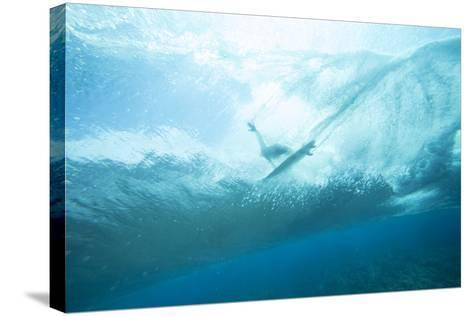 Underwater View of a Surfer on a Surfboard-Andy Bardon-Stretched Canvas Print