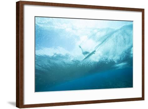 Underwater View of a Surfer on a Surfboard-Andy Bardon-Framed Art Print