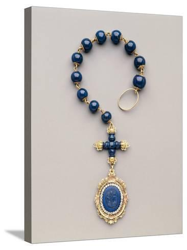 Yellow and Red Gold Rosary with Diamonds and Lapis Lazuli--Stretched Canvas Print