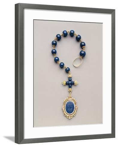 Yellow and Red Gold Rosary with Diamonds and Lapis Lazuli--Framed Art Print