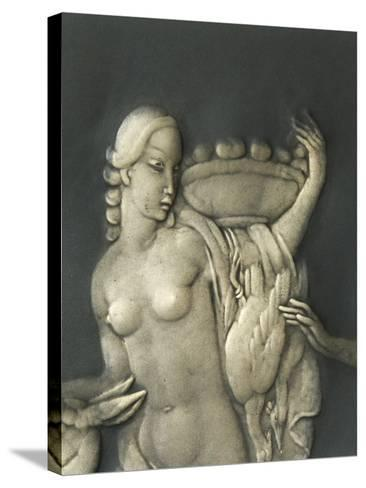 Chiselled Silver Plate Depicting Mythological Scene. Detail: Diana the Hunter-Cornelio Ghiretti-Stretched Canvas Print