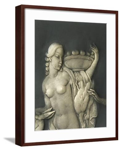 Chiselled Silver Plate Depicting Mythological Scene. Detail: Diana the Hunter-Cornelio Ghiretti-Framed Art Print