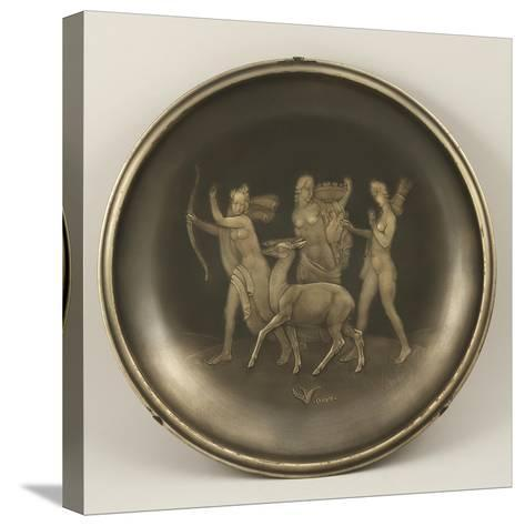 Chiselled Silver Plate Depicting Mythological Scene with Diana the Hunter-Cornelio Ghiretti-Stretched Canvas Print