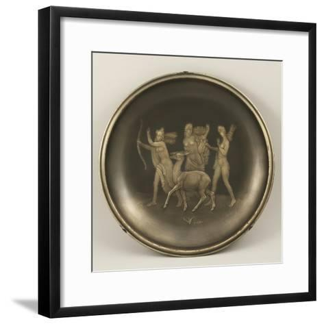 Chiselled Silver Plate Depicting Mythological Scene with Diana the Hunter-Cornelio Ghiretti-Framed Art Print