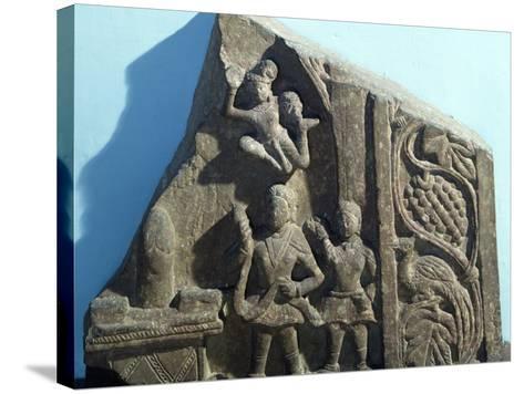 Worshipers Bearing Offerings to Shiva Linga, Mathura, India, Kushan Empire--Stretched Canvas Print
