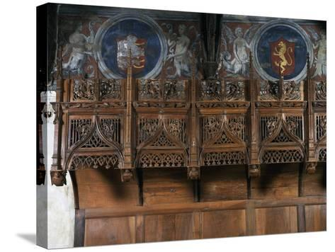 Wooden Choir Stalls in Chamber of Marguerite of Foix, Casa Cavassa, Saluzzo, Piedmont, Italy--Stretched Canvas Print