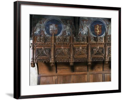 Wooden Choir Stalls in Chamber of Marguerite of Foix, Casa Cavassa, Saluzzo, Piedmont, Italy--Framed Art Print