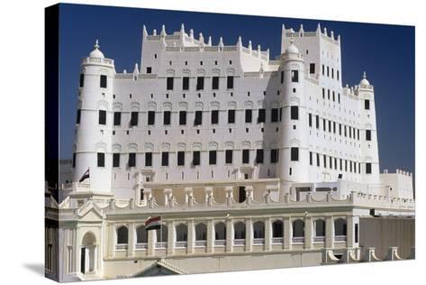 Yemen, Seiyun, Hadhramaut Region, Sultan Al Kathiri Palace Exterior--Stretched Canvas Print