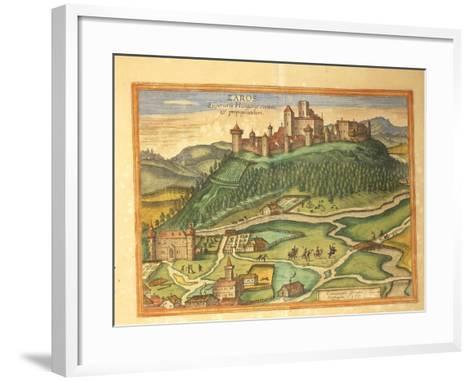 Zaros, Crete from Civitates Orbis Terrarum by Georg Braun, 1541-1622 and Franz Hogenberg, 1540-1590--Framed Art Print