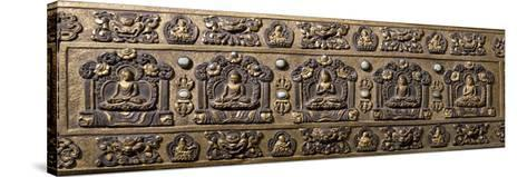 Wood and Bronze Book Cover, Inlaid with Semiprecious Stones, Tibet, 18th-19th Century--Stretched Canvas Print