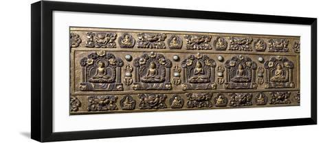 Wood and Bronze Book Cover, Inlaid with Semiprecious Stones, Tibet, 18th-19th Century--Framed Art Print