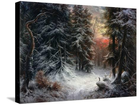 Snow Scene in the Black Forest-Carl Schindler-Stretched Canvas Print