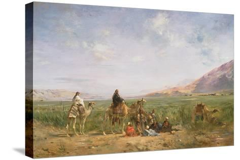 Travellers Resting at an Oasis-Eugene Lami-Stretched Canvas Print