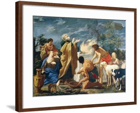 The Thanksgiving of Noah, 1639-1709-Giovanni Battista Lusieri-Framed Art Print