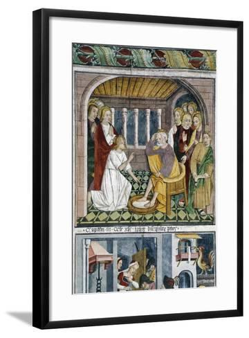 France, La Brigue, Notre-Dame Des Fontaines Chapel, Jesus Washing Apostles' Feet, 1491-Giovanni Canavesio-Framed Art Print
