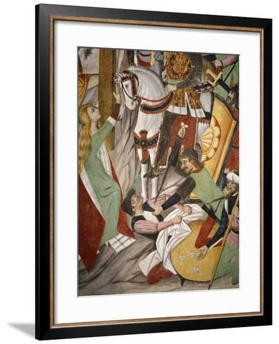 Soldiers Gambling for Jesus' Clothes by Throwing Dice, Detail from the Crucifixion, 1491-Giovanni Canavesio-Framed Art Print