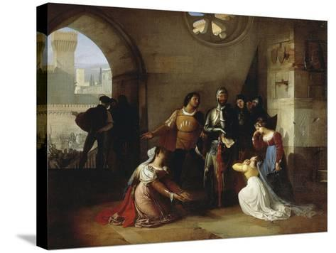 Peter Rossi, Imprisoned by the Scaligeri, 1818-1820-Francesco Hayez-Stretched Canvas Print
