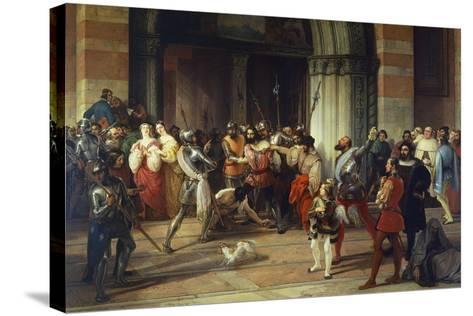 Ventura Fenaroli Arrested in the Carmine Church in Brescia by the French, 1834-Francesco Liani-Stretched Canvas Print