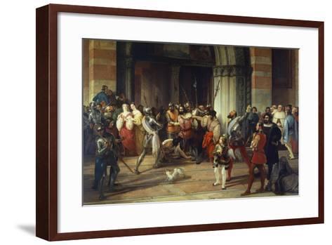 Ventura Fenaroli Arrested in the Carmine Church in Brescia by the French, 1834-Francesco Liani-Framed Art Print