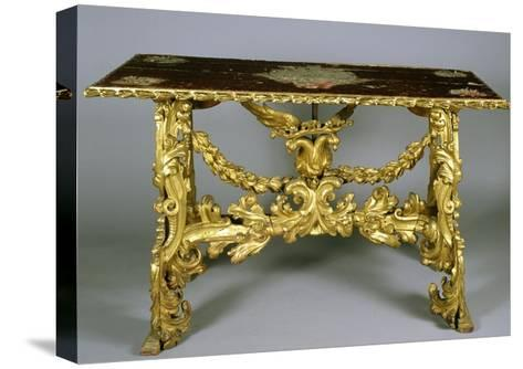Carved and Gilt Wood Table, 1696-Francesco Podesti-Stretched Canvas Print