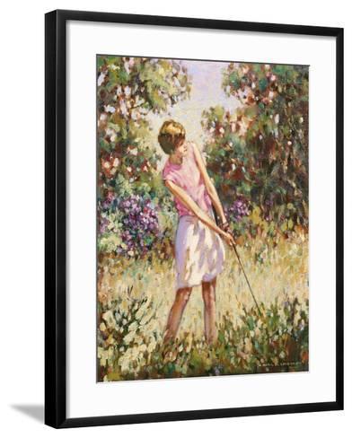 Lady Golfer in the Rough-Paul Gribble-Framed Art Print