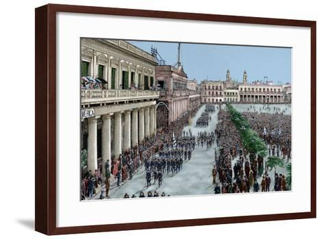 Uruguay, Montevideo, Army Parade in Honour of the President Julio Herrera Obes-Lajos Vajda-Framed Art Print