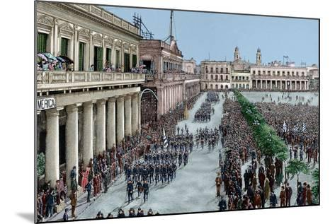 Uruguay, Montevideo, Army Parade in Honour of the President Julio Herrera Obes-Lajos Vajda-Mounted Giclee Print