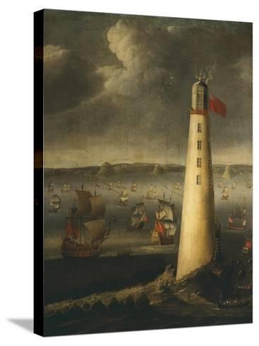 Ships in Front of Rudyerd Lighthouse at Eddystone Rock, 1709, England-Isaias Campenius-Stretched Canvas Print