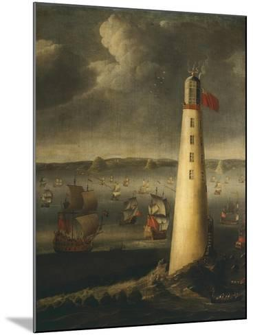 Ships in Front of Rudyerd Lighthouse at Eddystone Rock, 1709, England-Isaias Campenius-Mounted Giclee Print
