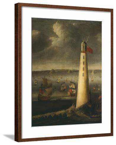 Ships in Front of Rudyerd Lighthouse at Eddystone Rock, 1709, England-Isaias Campenius-Framed Art Print