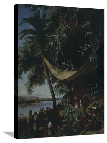 The First Mass in America-Philibert-Louis Debucourt-Stretched Canvas Print