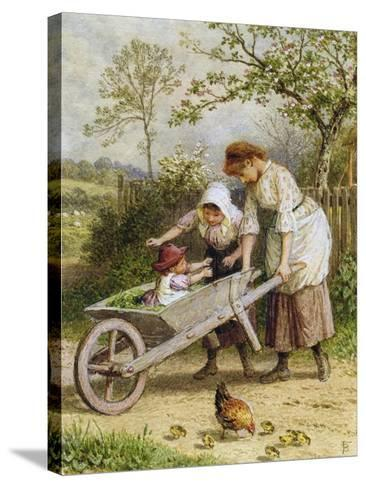 The Wheelbarrow-Myles Birket Foster-Stretched Canvas Print