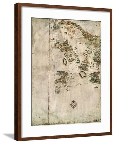 Map of Rio De Janeiro, 16th Century-Jacques-emile Blanche-Framed Art Print