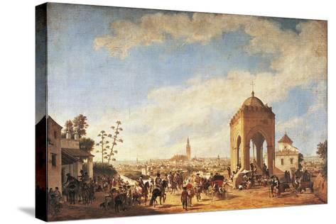Spain, Seville, Cruz Del Campo, Temple Overlooking City-Johann Christian Fiedler-Stretched Canvas Print