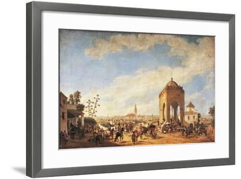 Spain, Seville, Cruz Del Campo, Temple Overlooking City-Johann Christian Fiedler-Framed Art Print