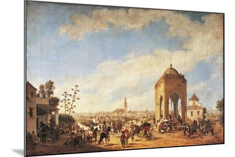 Spain, Seville, Cruz Del Campo, Temple Overlooking City-Johann Christian Fiedler-Mounted Giclee Print