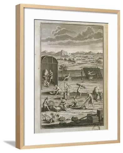 Canada, History of Exploration, Daily Life in Tribe from Manners of American Savages-Jost Amman-Framed Art Print