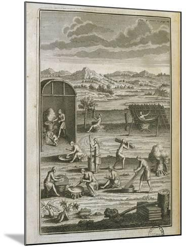 Canada, History of Exploration, Daily Life in Tribe from Manners of American Savages-Jost Amman-Mounted Giclee Print
