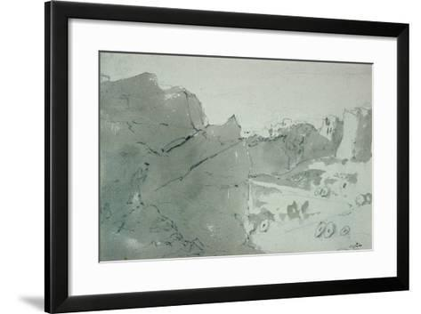 A Quarry for Mill-Stones in Derbyshire-John Constable-Framed Art Print
