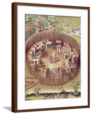 A Pomeiok Indian Fortified Vllage from Admiranda Narratio-Theodore de Bry-Framed Art Print
