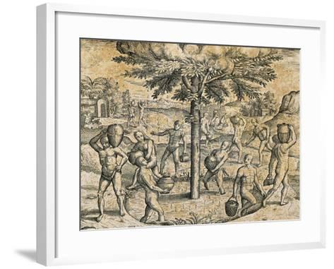 Natives of the Canary Islands, 1590-Theodore de Bry-Framed Art Print
