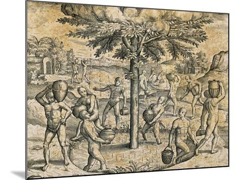 Natives of the Canary Islands, 1590-Theodore de Bry-Mounted Giclee Print