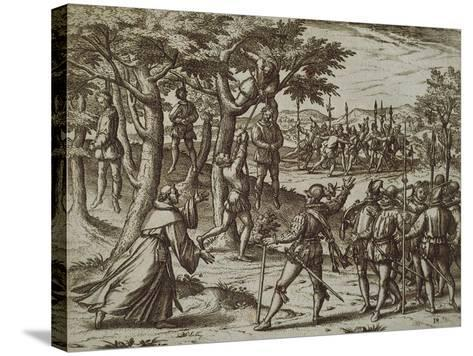 Sentence to Hanging of Some Men of Christopher Columbus in New World, 1590-Theodore de Bry-Stretched Canvas Print